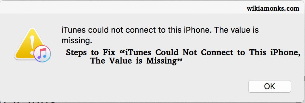 How to Fix \u201ciTunes Could Not Connect to This iPhone, The Value is