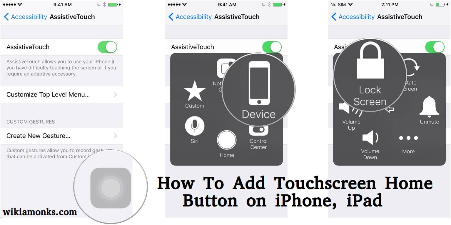 How To Add Touchscreen Home Button On Iphone Ipad Wikiamonks
