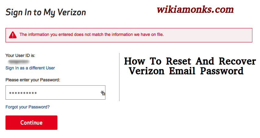 How To Reset And Recover Verizon Email Password | Wikiamonks